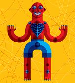 Meditation theme vector illustration drawing of a creepy creature made in modernistic style. Spiritual idol created in cubism style. poster