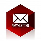 newsletter red cube 3d modern design icon on white background  poster