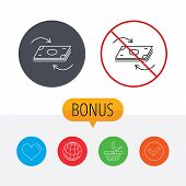 Money flow icon. Cash investment sign. Currency exchange symbol. Shopping cart, globe, heart and check bonus buttons. Ban or stop prohibition symbol. poster