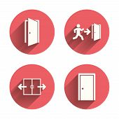 Automatic door icon. Emergency exit with human figure and arrow symbols. Fire exit signs. Pink circles flat buttons with shadow. Vector poster