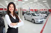 Car dealer woman. Auto dealership and rental concept background. poster
