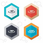 Hexagon buttons. Angle 30-135 degrees icons. Geometry math signs symbols. Full complete rotation arrow. Labels with shadow. Vector poster