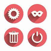 Anonymous mask and cogwheel gear icons. Recycle bin delete and power sign symbols. Pink circles flat buttons with shadow. Vector poster