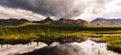 Serenity lake in tundra on Alaska poster