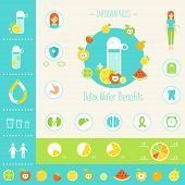 Detoxification Water Benefits for Health Infographics Elements poster