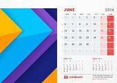 June 2016. Desk Calendar for 2016 Year. Vector Stationery Design Template with Material Design Abstract Background Company Logo and Contact Information. Week Starts Monday poster