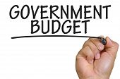 The hand writing government budget over plain white background poster
