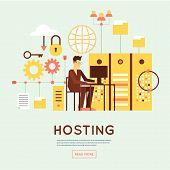 File hosting, database server, data exchange, digital data center, file storage, file protection. Flat design. poster