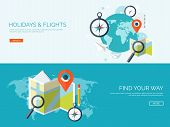 Vector illustration. Flat background. Navigation , traveling.  Map pointer , location finding. Web application. poster
