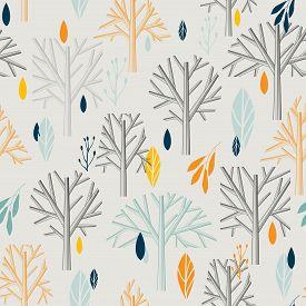 autumn pattern in retro style