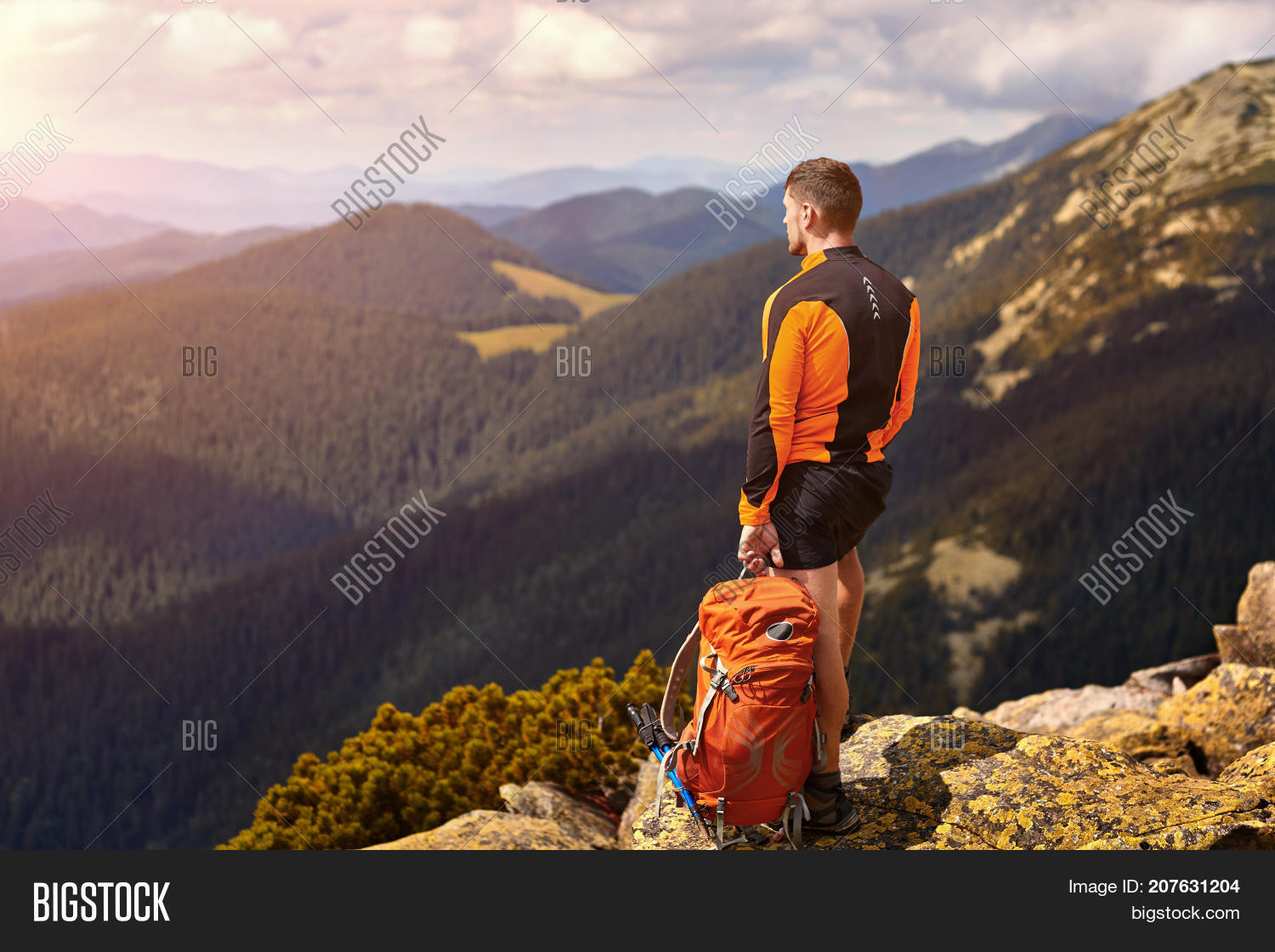 8c5f22844c09 Man traveler with backpack hiking Travel Lifestyle concept adventure active summer  vacations outdoor rocky mountains on