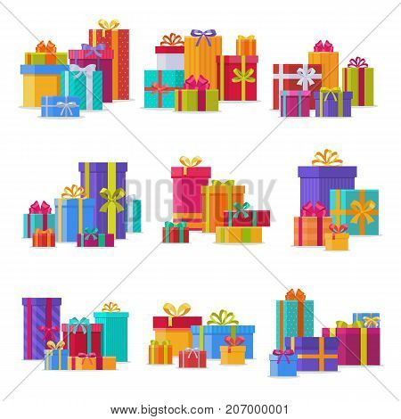 Gift box anniversary event satin greeting object with ribbon and bow isolated valentine paper birthday package festive party shopping wrap vector illustration. Surprise elegance birthday present.