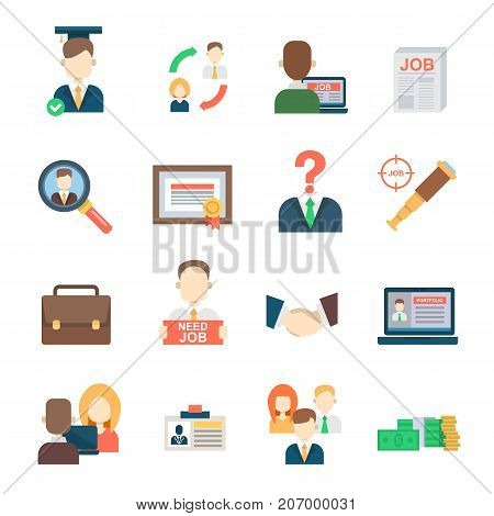 Job search set office human resourses recruitment employment work meeting manager vector icons of labor work team meeting manager. Interview employee resources career strategy set.