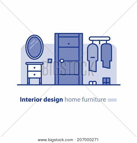 Interior design solution, entrance hall with door, mirror and hanger, home furniture, vector illustration