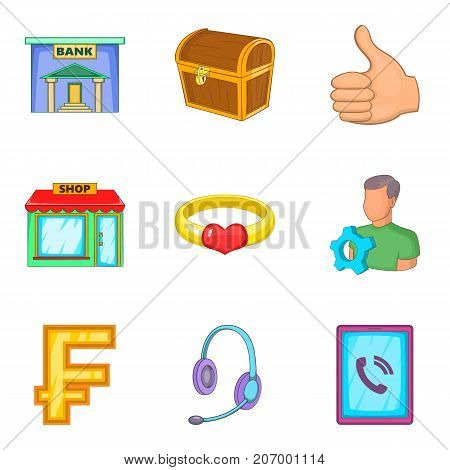 Successful business icons set. Cartoon set of 9 successful business vector icons for web isolated on white background