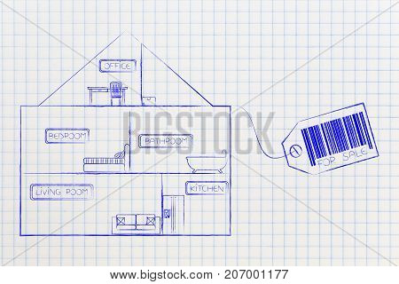 House Section With View Into The Rooms And Price Tag