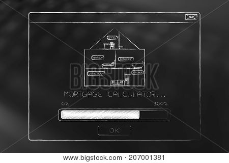 Mortgage Calculator Pop-up Message With House Icon And Progress Bar