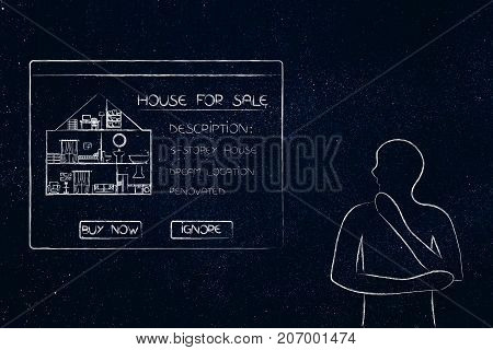 Doubtful Man Looking At Pop-up Message With Description Of A House For Sale