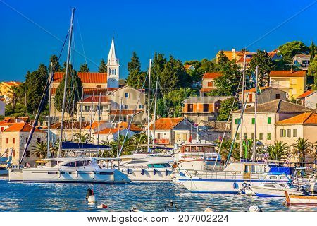 Seafront view at amazing colorful town Rogoznica, popular tourist resort and sailing luxury resort in Dalmatia region, Mediterranean.