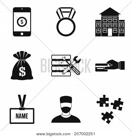 Big salary icons set. Simple set of 9 big salary vector icons for web isolated on white background