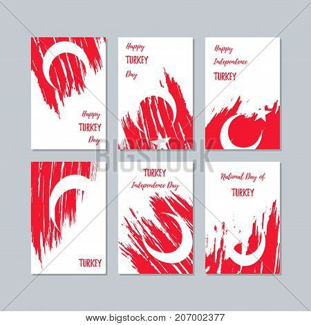 Turkey Patriotic Cards For National Day. Expressive Brush Stroke In National Flag Colors On White Ca