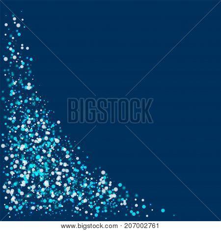 Amazing Falling Snow. Bottom Left Corner With Amazing Falling Snow On Deep Blue Background. Radiant