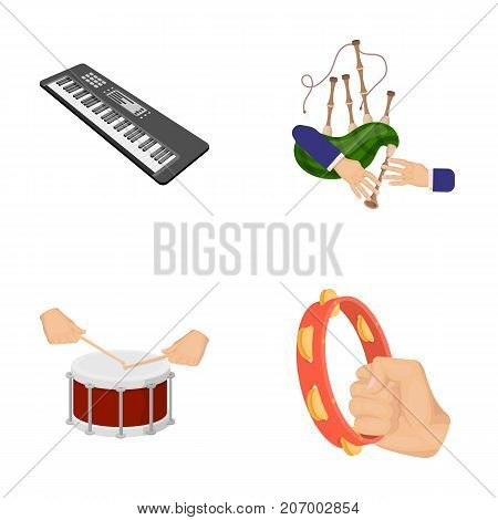 Synthesizer melodies, bagpipes Scotch and other  icon in cartoon style. drum, drum roll, tambourine in hand icons in set collection.