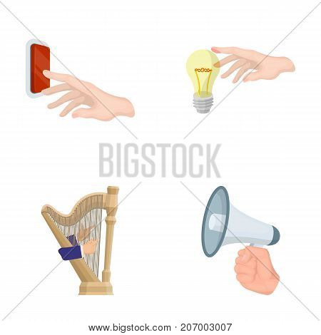 Electric switch button, incandescent lamp and other  icon in cartoon style. harp playing, Megaphone in hand icons in set collection.