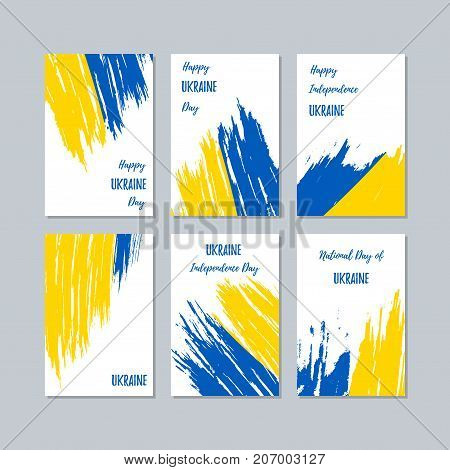 Ukraine Patriotic Cards For National Day. Expressive Brush Stroke In National Flag Colors On White C
