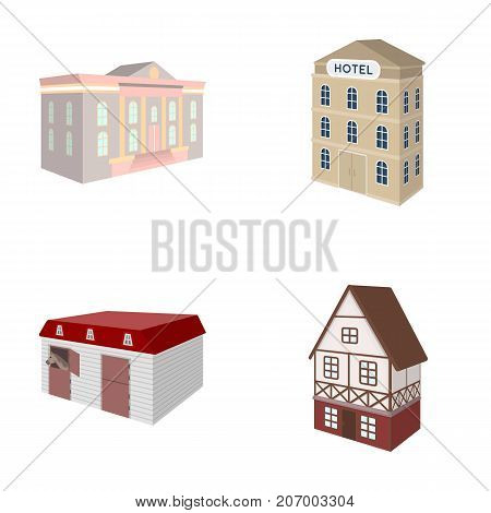 The museum building, a three-story hotel, a stable at the racecourse, a residential cottage. Architectural and building set collection icons in cartoon style vector symbol stock illustration .