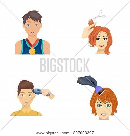 Athlete with a medal, a haircut with an electric typewriter and other  icon in cartoon style. Women's haircut, hair coloring in the hairdresser's icons in set collection.