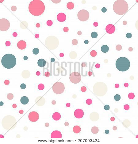 Colorful Polka Dots Seamless Pattern On White 8 Background. Beautiful Classic Colorful Polka Dots Te