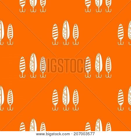 Plastic fishing lure pattern repeat seamless in orange color for any design. Vector geometric illustration