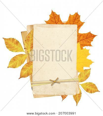 Vintage cards and autumn leaves. Object isolated on white background. Copy space for your text