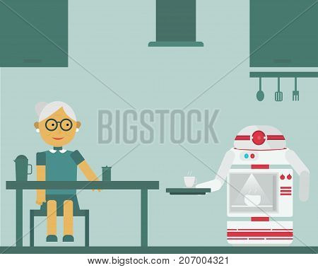 Robot microwave brings cup of coffee to his old aged owner at home. Personal robot assistance futuristic concept illustration vector.