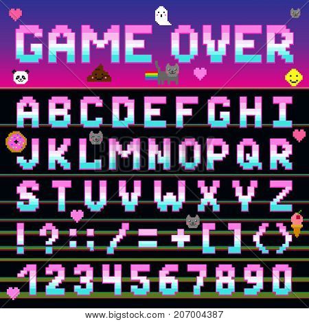 Pixel retro font computer game design 8-16 bit letters and numbers electronic futuristic vector abc typeface digital alphabet. Website modern vintage creative graphic print