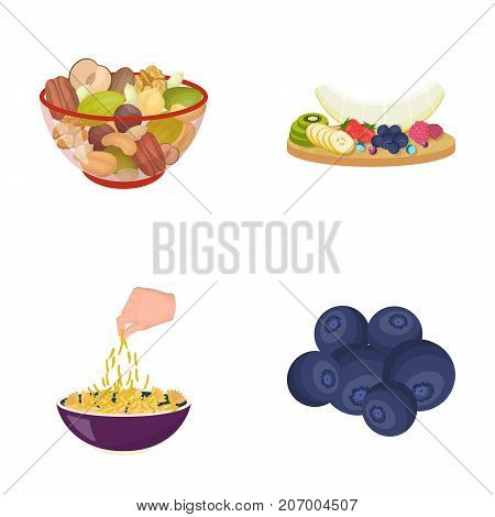 Assorted nuts, fruits and other . Food set collection icons in cartoon style vector symbol stock illustration .