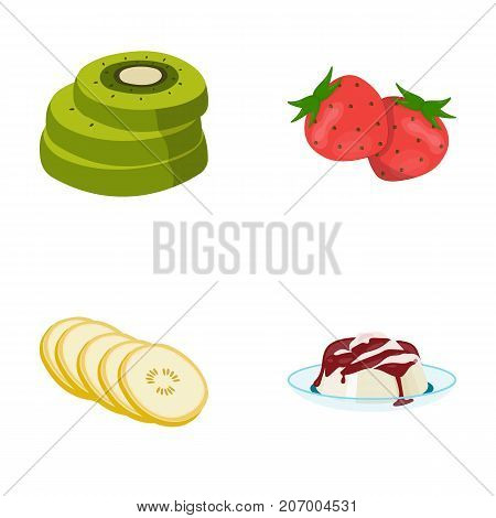 Fruits and other . Food set collection icons in cartoon style vector symbol stock illustration .