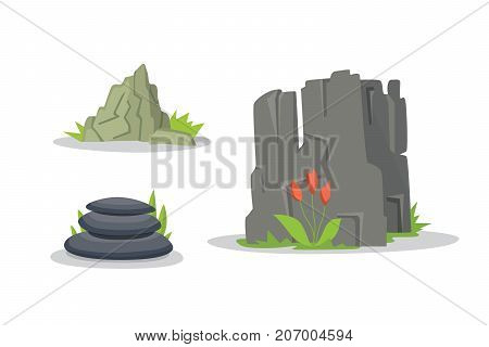 Rocks and stones elements collection set. Vector illustration of solid materials. Cartoon stones in different colors