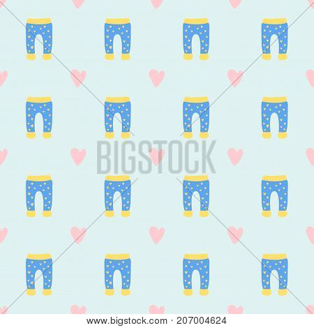 Vector baby clothes seamless pattern design textile casual fabric colorful clothing dress. Child garment wear illustration. Cute object suit fashionable infant cotton.