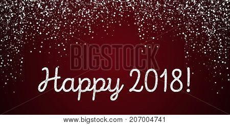 Happy 2018 Greeting Card. Random Falling White Dots Background. Random Falling White Dots On Red Bac