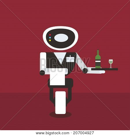 Domestic robot waiter carrying a tray with bottle and glass. Robotic assistance futuristic concept illustration vector.