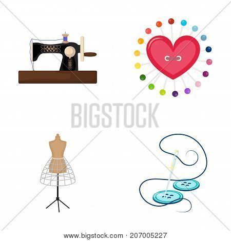 Needle and thread, sewing machine, pincushion, dummy for clothing. Sewing and equipment set collection icons in cartoon style vector symbol stock illustration .