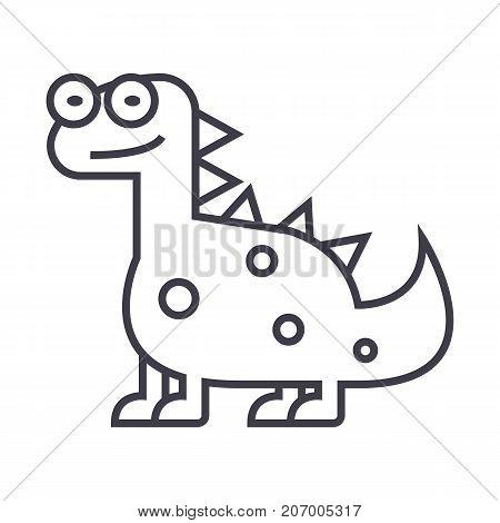 cute dino, dinosaur  vector line icon, sign, illustration on white background, editable strokes
