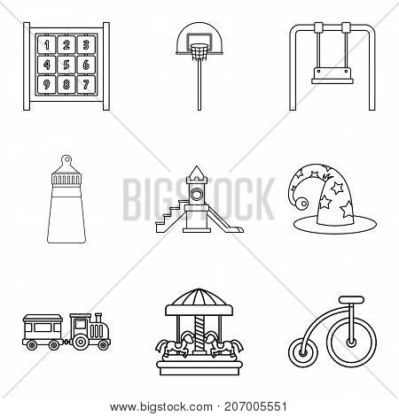 Childrens community icons set. Outline set of 9 childrens community vector icons for web isolated on white background