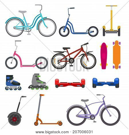 Alternative city wheel transport and urban bike circle wheeling personal transportation gadgets electric scooters vector. Cycle personal balance bicycle and kick bike eco friendly vehicles set.