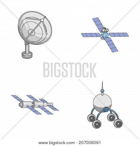Radio radar, docking in space spacecraft, Lunokhod. Space technology set collection icons in cartoon style vector symbol stock illustration .