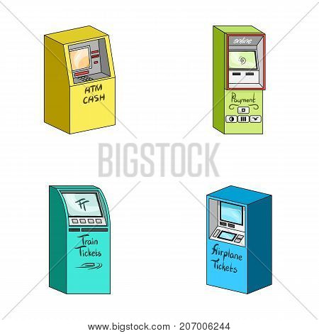 Cash machine for cash, terminal for payment, ticket machine. Terminals set collection icons in cartoon style isometric vector symbol stock illustration .