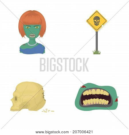 Apocalypse, Halloween, blood, and other  icon in cartoon style., Mouth, teeth skin icons in set collection
