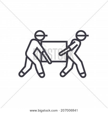 deliverymen, box taking vector line icon, sign, illustration on white background, editable strokes